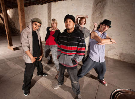Five cool hip hop dancers strike a pose photo