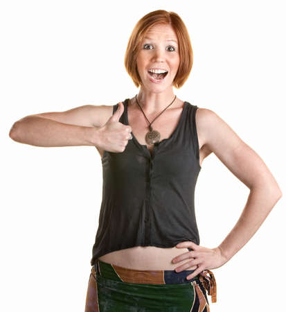 red head: Happy young red head with thumbs up gesture Stock Photo
