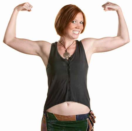 boasting: Happy woman with smile and flexing bicep muscles
