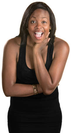 flattered: Laughing adult Black woman over isolated background