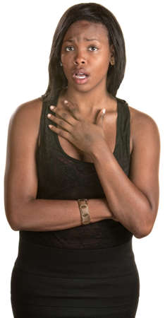 distressed: Distressed woman with hand on chest over white background