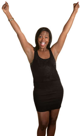 relieved: Happy Black woman with arms in the air over white background