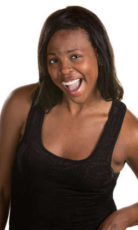 Excited young Black woman with hand on hip Stock Photo - 14650290