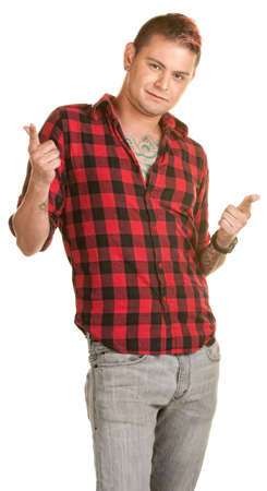 laid back: Laid back male with fingers pointed over white background