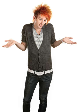gullible: Young man in mohawk with hunched shoulders and palms up Stock Photo