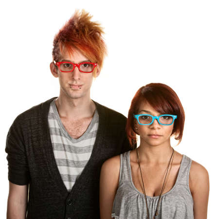 Cute teen couple with red and blue eyeglasses photo