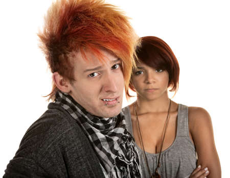 Young lady frustrated with boyfriend in orange hair photo