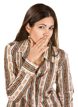 Cute young woman whispering with hand near mouth Stock Photo - 14825331