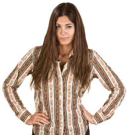 hands on hips: Playful Hispanic woman acting disappointed with hands on hips
