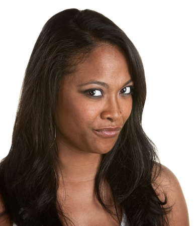 Skeptical African woman with long hair on white background Stock Photo - 14825309