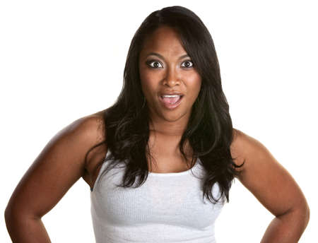 Pretty Black woman with shocked look on her face