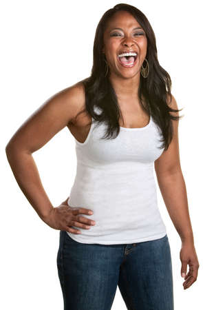 Strong Black woman laughing on isolated background photo