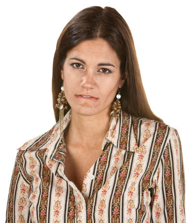 Woman staring and biting her lip over white background