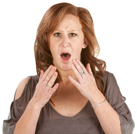 Scared woman with hands near face over white background Stock Photo - 14925928