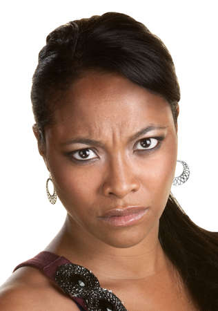 Young African woman frowning over white background photo