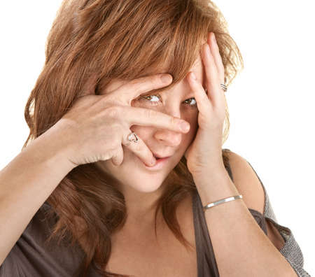 Upset European woman with face in her hands Stock Photo - 14991728