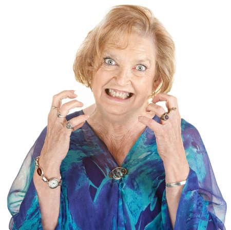 Restless europeo femminile senior con denti stretti Archivio Fotografico - 15060717