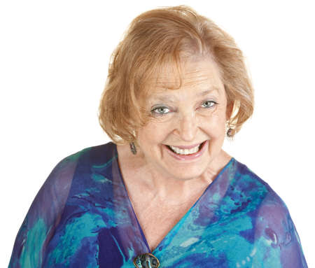 Single adorable mature woman in blue smiling