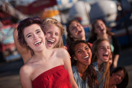 hysterical: Group of girls hanging out and laughing together