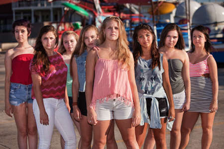 Group of eight serious teenage girls standing at an amusement park photo