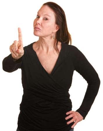 donne mature sexy: Infastidito dama bianca sul dito isolato sfondo scodinzolante Archivio Fotografico