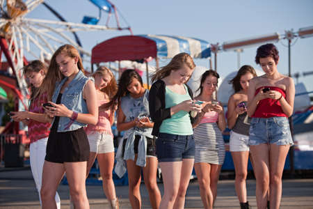 Group of 8 teenage girls text messaging at an amusement park photo