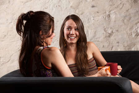 Beautiful Caucasian brunette ladies sitting indoors talking Stock Photo - 15555826