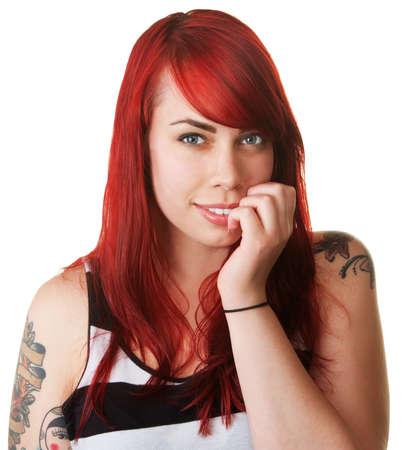 Smiling schöne Frau mit roten Haaren Beißen ihre Nägel Standard-Bild - 16034911