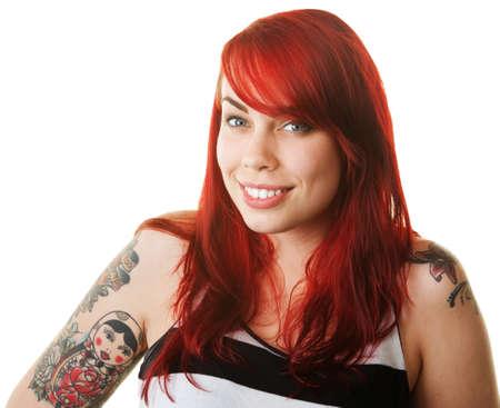 Glückliche Frau im roten Haar mit russian doll Tattoo Standard-Bild - 16034918