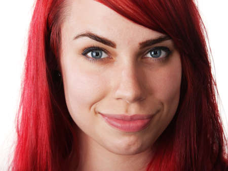 Cute smiling white woman with red hair on isolated background Stock Photo - 16190300