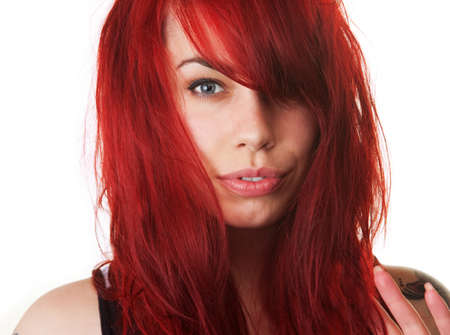 attractive gorgeous: Sensual European female with red blown out hair