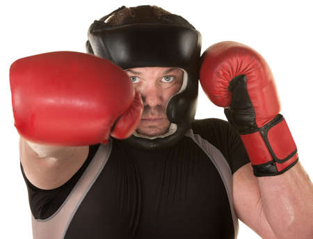 European boxer punches with other hand guarding Stock Photo - 16190292