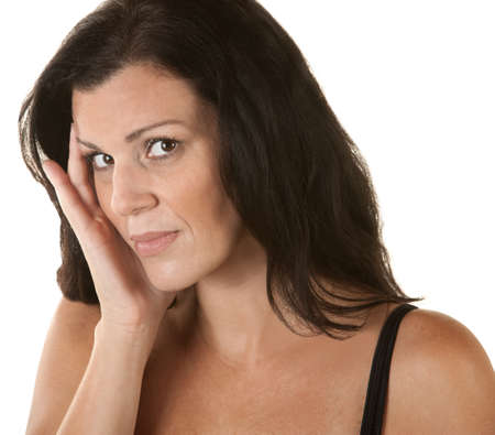 Annoyed woman with head on head over isolated background Stock Photo - 16300093