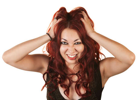 Emotional Native American woman grabbing her hair Stock Photo - 16300105