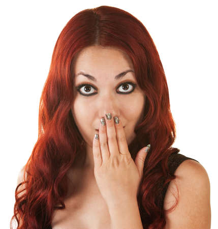 Surprised Mexican woman with red hair covering her mouth Stock Photo - 16300087