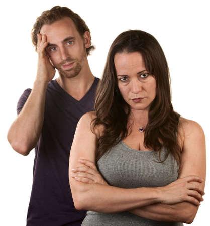 Skeptical europäischen Frau und Mann mit Hand auf Kopf Standard-Bild - 16300091