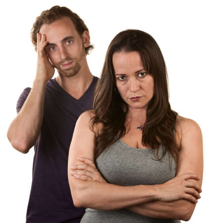 irked: Skeptical European woman and man in with hand on head