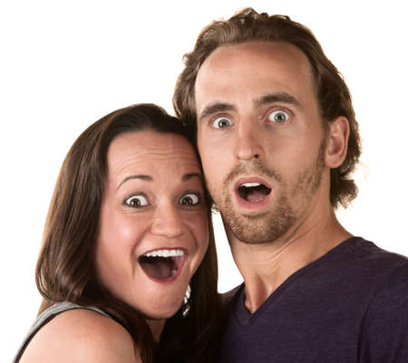 mouth couple: Surprised white man and woman over isolated background