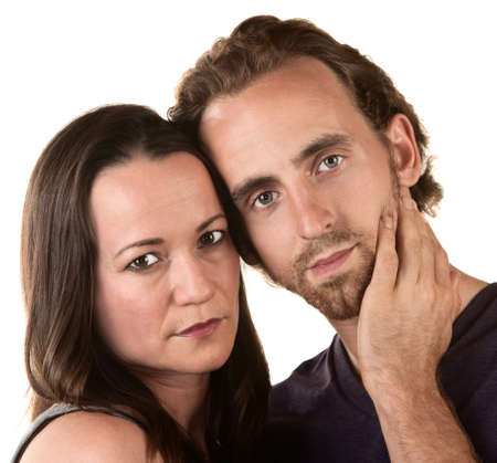 Close up of serious Caucasian couple on isolated background Stock Photo - 16300089