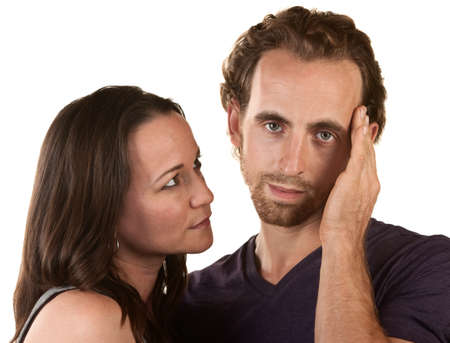 Sympathetic woman looking at man holding his head Stock Photo - 16300112