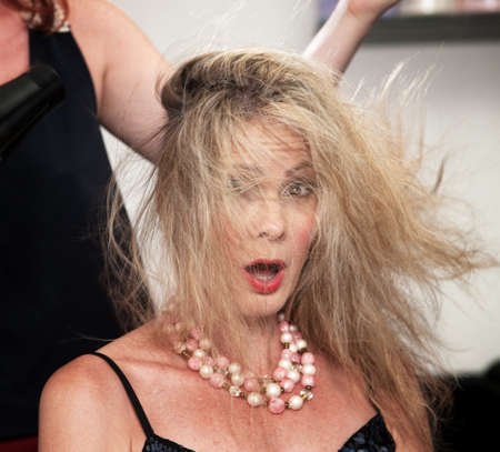 hair stylist: Shocked woman with messy hair from blow dryer Stock Photo
