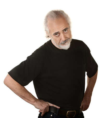 cautious: Frustrated older man in beard and hands on hips