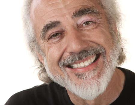 Homme de race blanche avec grand sourire sur fond isolé Banque d'images