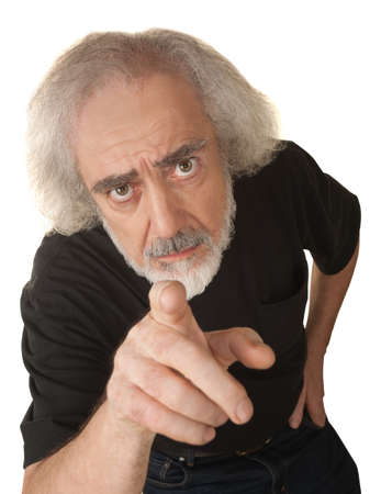 Curious older white man pressing with index finger Stock Photo - 16473097
