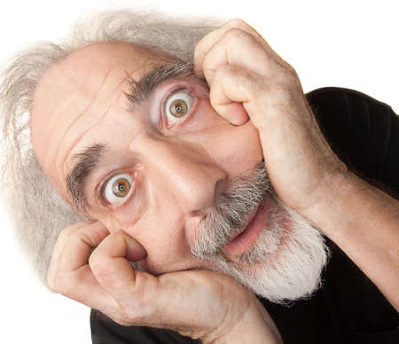 Scared male senior citizen man over isolated background Stock Photo - 16472964