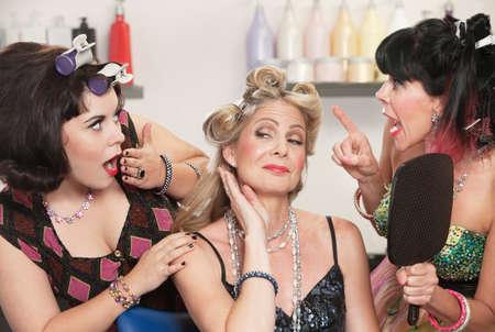 T of pretty Caucasian women showing off in hair salon Stock Photo - 16578066