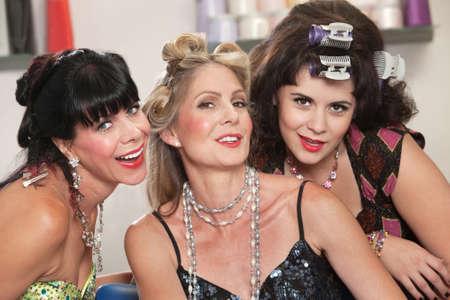 Three cute Caucasian women posing in a beauty salon Stock Photo - 16578032