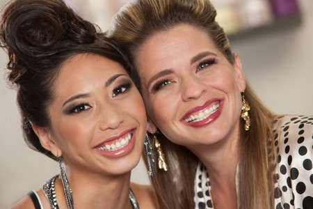 bff: Two beautiful female friends together in close up