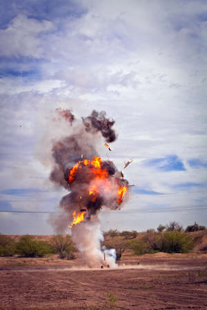 Motion picture effects refrigerator explosion in desert photo