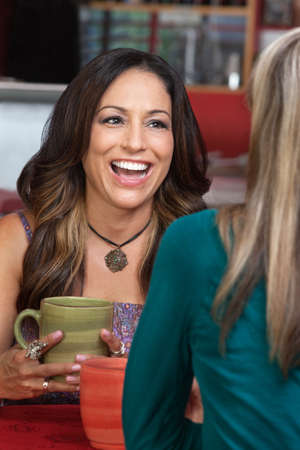 mature mexican: Laughing mature woman with friend in restaurant Stock Photo